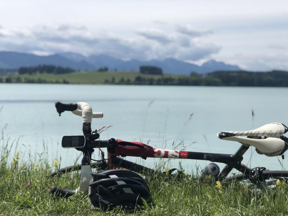 Rennrad fahren am Forggensee